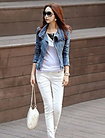 Women's Going out Simple Winter Denim Jacket,Solid Shirt Collar Long Sleeve Short Polyester