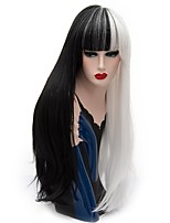 Women Synthetic Wigs Capless Long Straight Black/White Natural Wig Party Wig Halloween Wig Carnival Wig Costume Wig