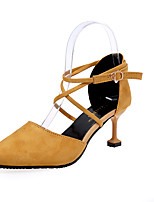 Women's Heels Comfort Summer PU Outdoor Black Beige Yellow Blushing Pink 4in-4 3/4in