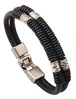 Men's Leather Bracelet Basic Natural Geometric Elegant Fashion Vintage Punk Cross Personalized Hip-Hop Handmade Luxury Simple Style