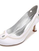 Mujer Zapatos de boda Confort Pump Básico Satén Primavera Verano Boda Vestido Fiesta y Noche Perla Perla de Imitación PorosoTacón Bajo
