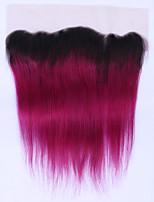 Pelo brasileño no-remy bordado brasileño del cordón del pelo recto del ombre 12 a 16inch dos tono 1b / 99j cierre suizo del pelo humano