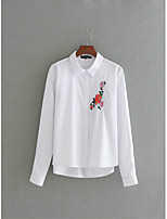 Для женщин На выход На каждый день Лето Футболка Рубашечный воротник,Простое Уличный стиль Вышивка Длинный рукав,Шёлк Хлопок,Тонкая