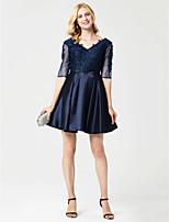 princesse v-cou courte / mini robe de cocktail en satin avec appliques châssis / ruban