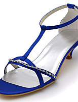Women's Wedding Shoes Basic Pump Stretch Satin Summer Party & Evening Dress Crystal Kitten Heel Blue Purple Black 1in-1 3/4in