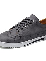 Men's Sneakers Comfort Spring Fall Nappa Leather Casual Outdoor Lace-up Flat Heel Black Gray Brown Flat