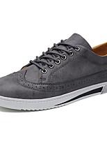 Для мужчин Кеды Удобная обувь Наппа Leather Весна Осень Повседневные Шнуровка На плоской подошве Черный Серый КоричневыйНа плоской