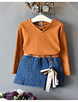 Girls' Casual/Daily Solid SetsCotton Rayon Summer Sleeveless Clothing Set