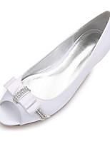 Women's Wedding Shoes Comfort Ballerina Spring Summer Satin Wedding Dress Party & Evening Rhinestone Bowknot Satin Flower Sparkling