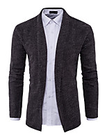 Men's Casual/Daily Simple Regular Cardigan,Color Block Shirt Collar Long Sleeves Cotton Spring Fall Medium Stretchy