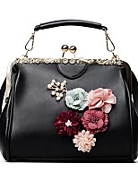 Women Tote PU All Seasons Event/Party Casual Outdoor Office & Career Round Flower Button Blushing Pink Red Black White