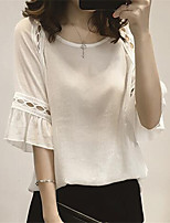 Women's Going out Casual/Daily Sexy Summer Fall Blouse,Solid Round Neck Half Sleeve Polyester Medium
