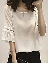 Для женщин На выход На каждый день Лето Осень Блуза Круглый вырез,Секси Однотонный Рукав до локтя,Полиэстер,Средняя