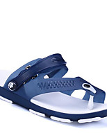 Men's Sandals Comfort Summer PVC Leather Casual Black Gray Navy Blue Green Flat