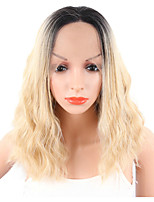 Trendy Ombre Blonde Short Bob Synthetic Lace Front Wig Pixie Cut Water Wave Wigs With Dark Roots Full Lace Front Wigs For Women Heat Resistant
