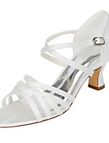 Women's Wedding Shoes Basic Pump Stretch Satin Summer Wedding Dress Buckle Chunky Heel Ivory 2in-2 3/4in