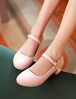 Women's Shoes PU Spring Comfort Heels Chunky Heel Round Toe For Casual Blushing Pink Light Blue Almond