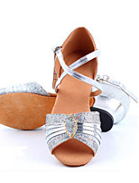 Kids' Latin Leather Sandals Indoor Flat Heel Gold Silver Blue