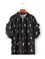 Для женщин На выход На каждый день Офис Весна Осень Блуза Рубашечный воротник,Секси Простое Уличный стиль С принтом С короткими рукавами,