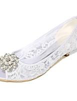Feminino Sapatos De Casamento Plataforma Básica Primavera Verão Renda Arrastão Casamento Festas & Noite Pedrarias Pérolas Salto Cone