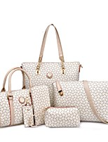 Women Bags All Seasons PU Bag Set with Pattern / Print for Event/Party Casual Formal Office & Career Blushing Pink LightBlue Beige Deep
