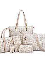 Mulher Bolsas Todas as Estações Couro Ecológico Conjuntos de saco com Estampa para Festa/Eventos Casual Formal Rosa Azul Claro Bege Azul