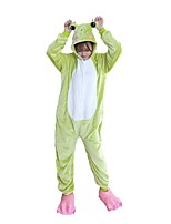 Kigurumi Pajamas Frog Leotard/Onesie Festival/Holiday Animal Sleepwear Halloween Fashion Embroidered Flannel FabricCosplay Costumes With Shoes