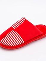 Для женщин Тапочки и Шлепанцы Удобная обувь Зима Ткань Повседневные На плоской подошве Пурпурный Красный На плоской подошве