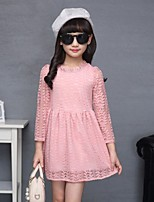 Girl's Birthday Holiday Solid Dress,Special Leather Types Spring Fall Long Sleeve