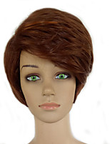 Woman Brown Mixed Short Curly Natrural Wig  Synthetic Hair High Temperature Fiber