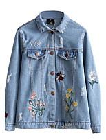 Для женщин На выход На каждый день Весна Осень Джинсовая куртка Рубашечный воротник,Простой Шинуазери (китайский стиль) Однотонный Обычная