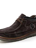 Для мужчин Туфли на шнуровке Удобная обувь Осень Зима Кожа Повседневные Шнуровка На плоской подошве Темно-синий Темно-русый