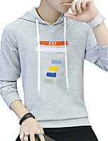 Men's Plus Size Sports Plus Size Going out Casual/Daily Simple Active Street chic Hoodie Solid Print Letter Hooded Micro-elasticCotton