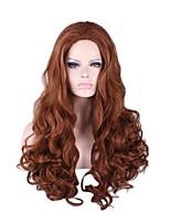 Femme Long Marron Frisés Cheveux Synthétiques Sans bonnet Perruque Naturelle