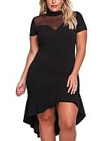 Для женщин На каждый день Офис Большие размеры Простое Прямое Оболочка Платье Однотонный,V-образный вырез Мини Выше колена С короткими