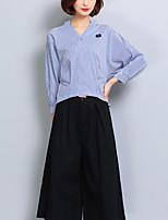 Для женщин На выход На каждый день Офис Осень Рубашка V-образный вырез,Уличный стиль Полоски Рукав 3/4,Полиэстер,Средняя