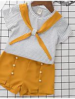 Ensembles Fille A Rayures Coton Polyester Eté Manches Courtes Ensemble de Vêtements