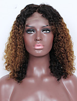 Ombre T1B/30 Lace Front Human Hair Wigs Kinky Curly with Baby Hair 180% Density Brazilian Virgin Hair Curly Wig for Woman