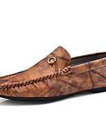 Men's Shoes Leather Spring Fall Moccasin Loafers & Slip-Ons For Casual Brown Green