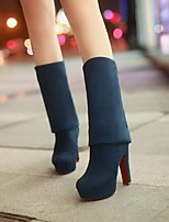 Women's Shoes Nubuck leather PU Fall Winter Comfort Boots For Casual Black Dark Blue Brown