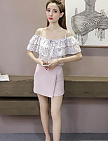 Women's Going out Cute Summer Blouse,Print Strap Short Sleeve Others Opaque