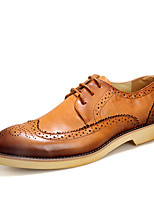 Men's Oxfords Formal Shoes Leather Summer Fall Office & Career Party & Evening Flat Heel Ruby Brown Black Walking Shoes
