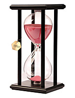 POSCN 30 Minutes Durable Glass  Hourglasses Black Wood Sand Timer for Time Management LP9007-0020