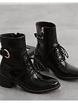 Для женщин Ботинки Удобная обувь Армейские ботинки Весна Лето Натуральная кожа Полиуретан Повседневные Черный На плоской подошве