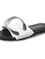 Для женщин Тапочки и Шлепанцы Удобная обувь Полиуретан Лето Повседневные Для прогулок На плоской подошве Белый Черный 4,5 - 7 см