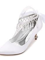 Mujer Zapatos de boda Confort Pump Básico Satén Primavera Verano Boda Vestido Fiesta y NochePedrería Pajarita Perla Perla de Imitación