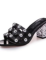 Women's Slippers & Flip-Flops Light Soles Spring PU Casual Beading Block Heel Black White 2in-2 3/4in