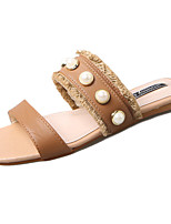 Women's Slippers & Flip-Flops Comfort Summer PU Walking Shoes Casual Beading Flat Heel White Beige Brown 2in-2 3/4in