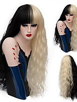 New Halloween Synthetic Hair Wigs Half Black and Blonde Mix Color Curly Natural Wave Heat Resistance Cosplay Full Wigs