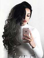 жен. Парики из искусственных волос Лента спереди Длиный Естественные волны Серый Волосы с окрашиванием омбре Парик из натуральных волос